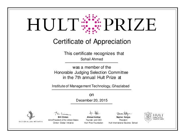 Certificate of appreciation mentor image collections certificate hult prize certificate of appreciation for judging certificate of appreciation this certificate recognizes that sohail ahmed yadclub Gallery