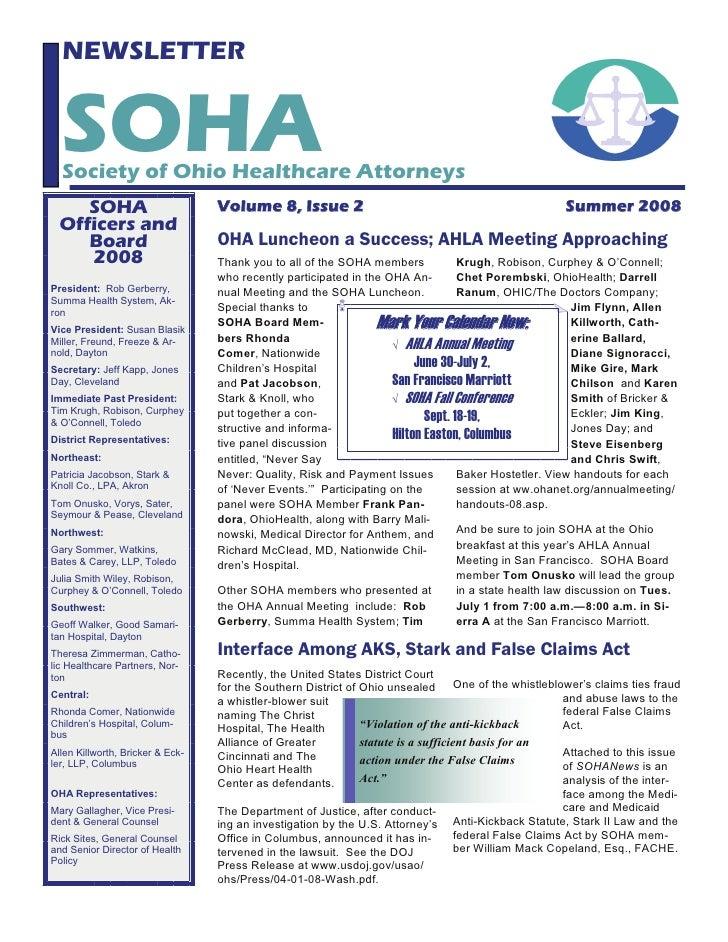NEWSLETTER     SOHA   Society of Ohio Healthcare Attorneys      SOHA                         Volume 8, Issue 2            ...