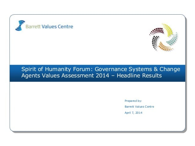 Spirit of Humanity Forum: Governance Systems & Change Agents Values Assessment 2014 – Headline Results Prepared by: Barret...