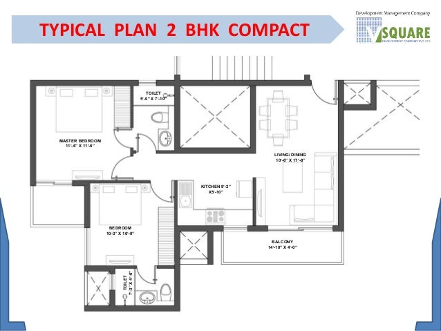 TYPICAL PLAN 2 BHK COMPACT MASTER BEDROOM. Residential Apartment   Flat for Sale in vsquare sohna sec 5   91 981
