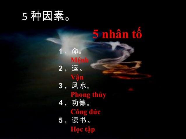 1 ,命。 Mệnh 2 , 。运 Vận 3 , 水。风 Phong thủy 4 ,功 。德 Công đức 5 , 。读书 Học tập 5 种因素。 5 nhân tố
