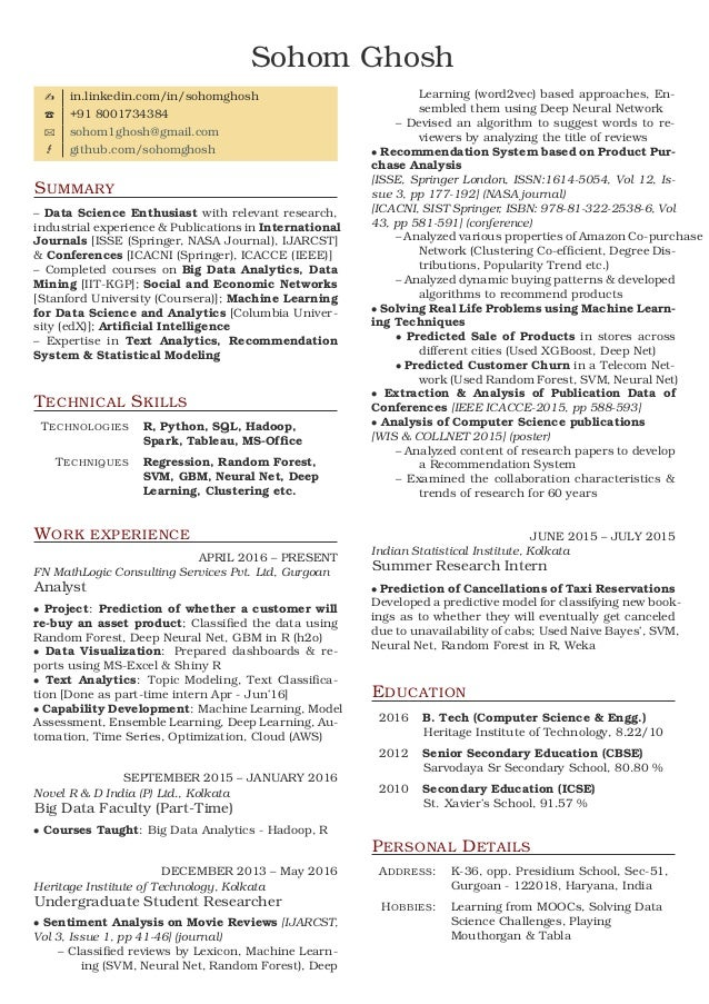 Resume. Sohom Ghosh In.linkedin.com/in/sohomghosh +91 8001734384  Sohom1ghosh@  Machine Learning Resume