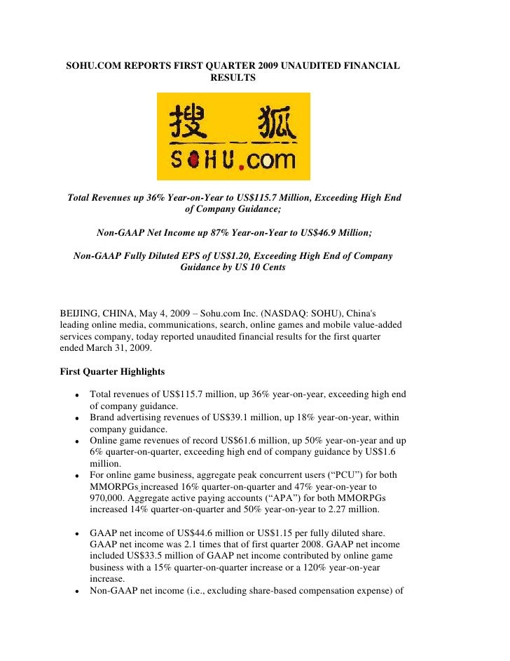SOHU.COM REPORTS FIRST QUARTER 2009 UNAUDITED FINANCIAL                          RESULTS      Total Revenues up 36% Year-o...