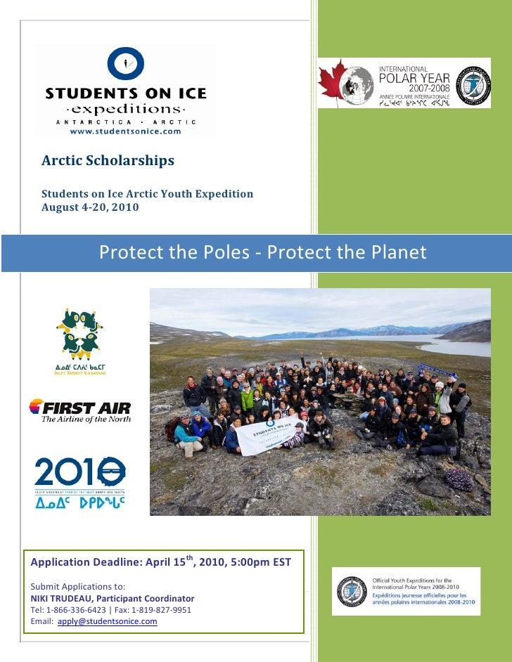 SOI Arctic Expedition                                                        Scholarships 2010       Arctic Scholarships  ...