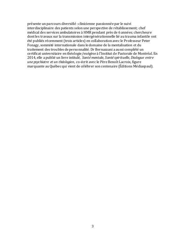 Soigner en psychiatrie : apports philosophiques et spirituels - résumé - HMR - 1.10.2015 Slide 3