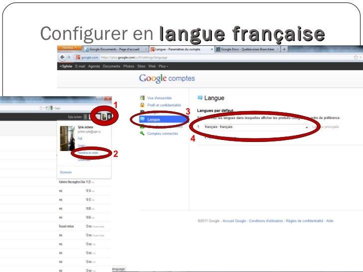 Configurer en  langue française SJ et KMO Novembre 2011  2 3 1 4