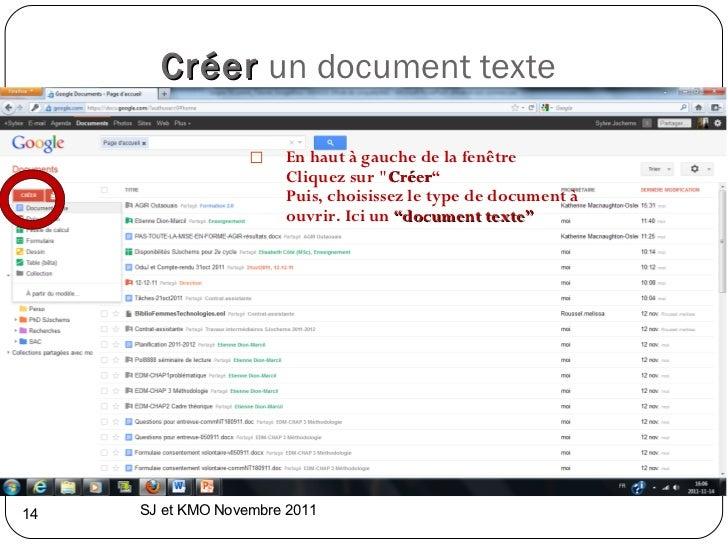 """Créer   un document texte  <ul><li>En haut à gauche de la fenêtre </li></ul><ul><li>Cliquez sur &quot; Créer """" </li></ul>..."""