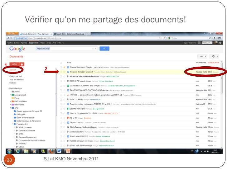 Vérifier qu'on me partage des documents! SJ et KMO Novembre 2011  1 2