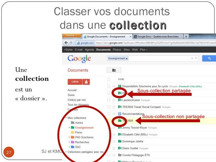 Classer vos documents  dans une  collection <ul><li>Une  collection  </li></ul><ul><li>est un «dossier». </li></ul>SJ e...