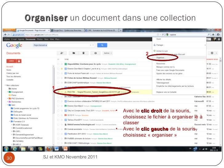 Organiser   un document dans une collection  SJ et KMO Novembre 2011  1 2 <ul><li>Avec le  clic droit  de la souris, chois...