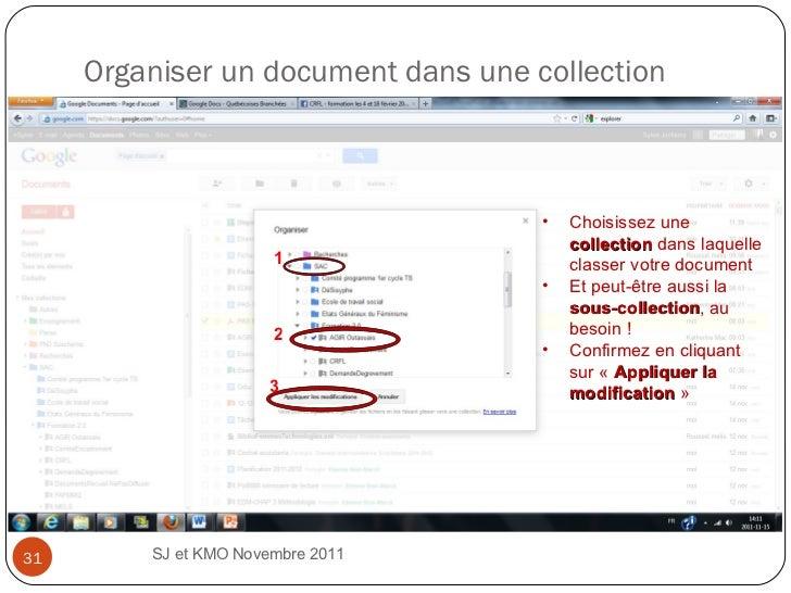 Organiser un document dans une collection SJ et KMO Novembre 2011  3 2 1 <ul><li>Choisissez une  collection  dans laquelle...