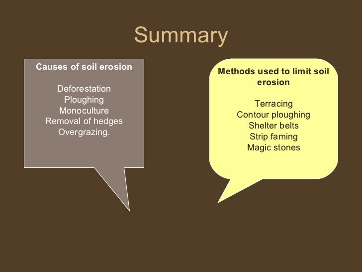 Summary Causes of soil erosion Deforestation Ploughing Monoculture Removal of hedges Overgrazing. Methods used to limit so...