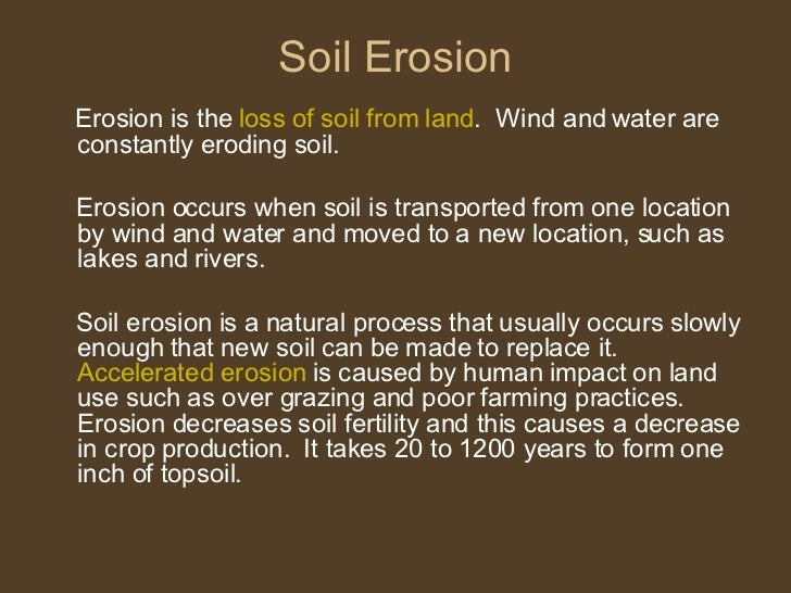 Soil erosion for What is the origin of soil