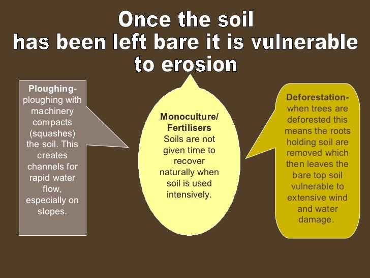 Once the soil  has been left bare it is vulnerable  to erosion Ploughing - ploughing with machinery compacts (squashes) th...