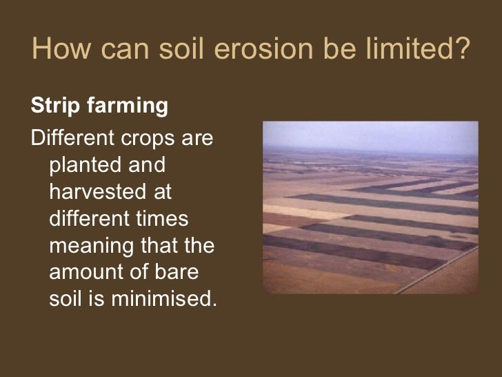 How can soil erosion be limited? <ul><li>Strip farming </li></ul><ul><li>Different crops are planted and harvested at diff...