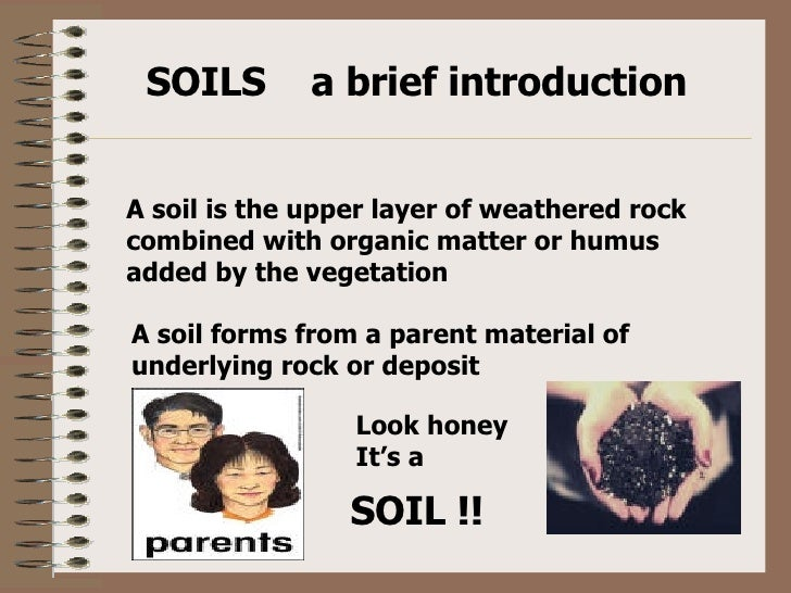 SOILS  a brief introduction A soil is the upper layer of weathered rock combined with organic matter or humus added by the...