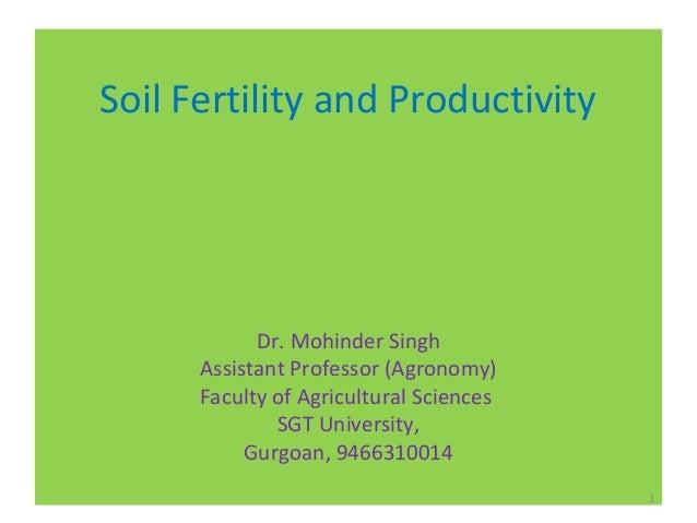 soil productivity and soil fertility