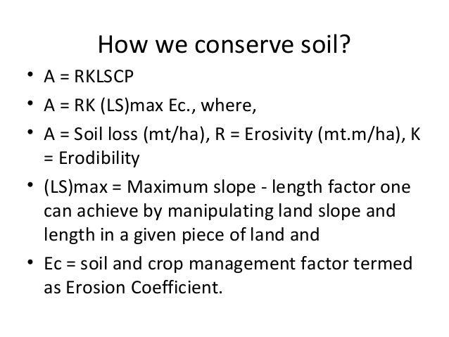 Soil and water conservation for dry zone of sri lanka for Soil k factor