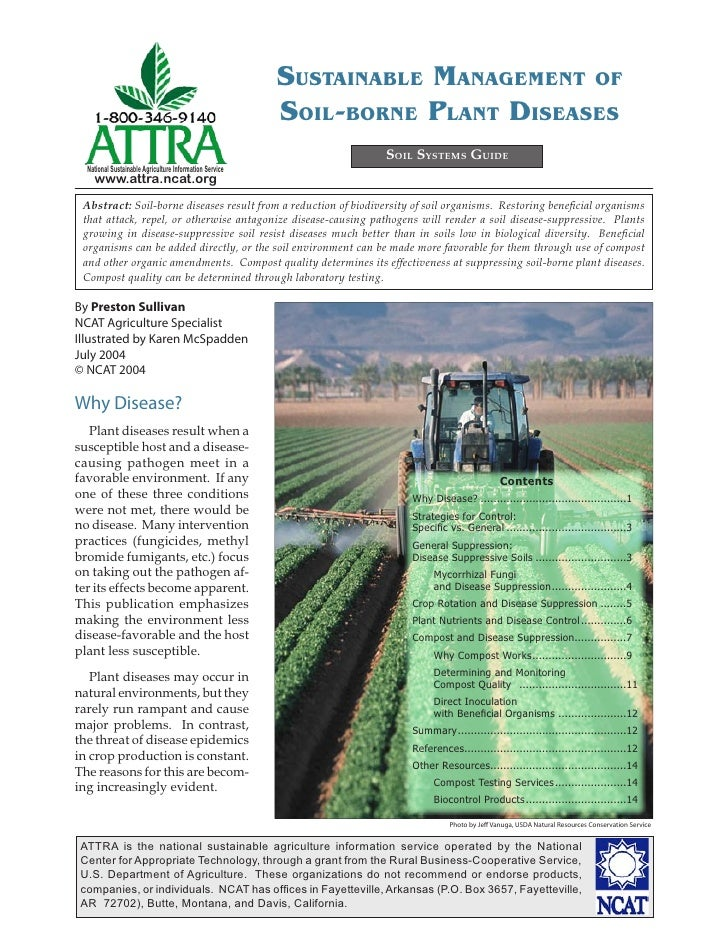 SUSTAINABLE MANAGEMENT OF                                                         SOIL-BORNE PLANT DISEASES               ...