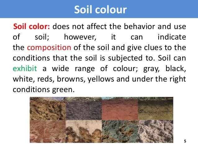 Soil colour for What is the composition of soil