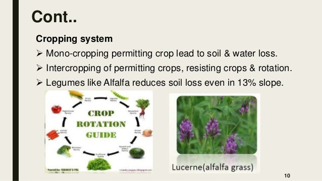 Cont.. Cropping system  Mono-cropping permitting crop lead to soil & water loss.  Intercropping of permitting crops, res...