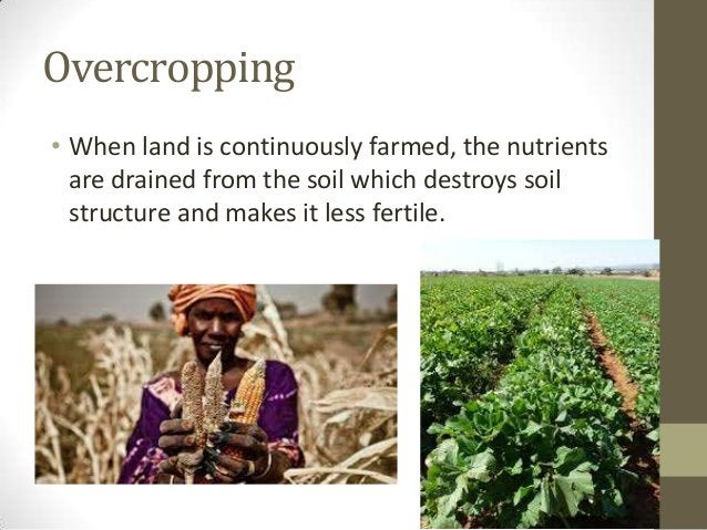 Overcropping • When land is continuously farmed, the nutrients are drained from the soil which destroys soil structure and...