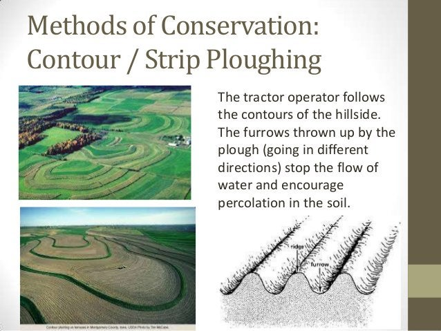 Methods of Conservation: Contour / Strip Ploughing The tractor operator follows the contours of the hillside. The furrows ...