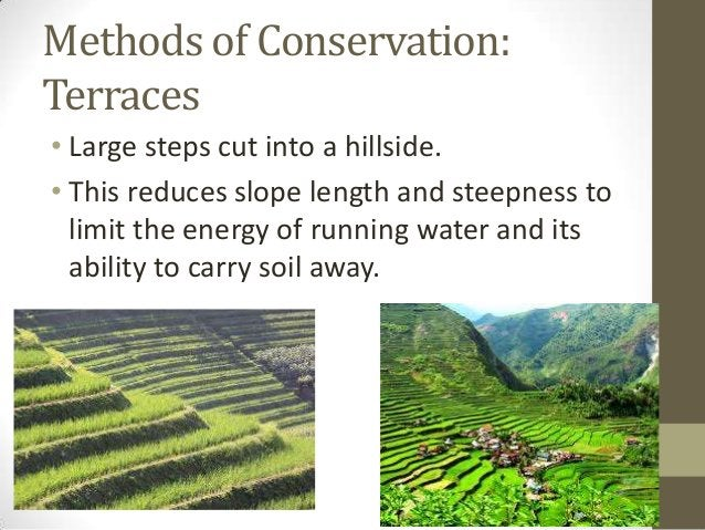 Methods of Conservation: Terraces • Large steps cut into a hillside. • This reduces slope length and steepness to limit th...