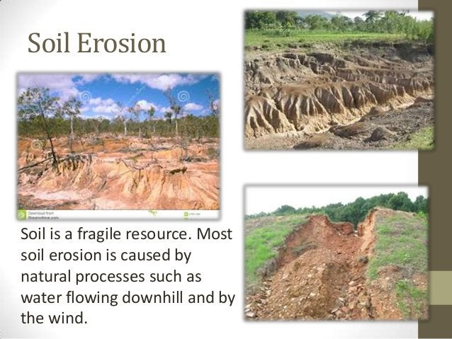 Soil Erosion Soil is a fragile resource. Most soil erosion is caused by natural processes such as water flowing downhill a...