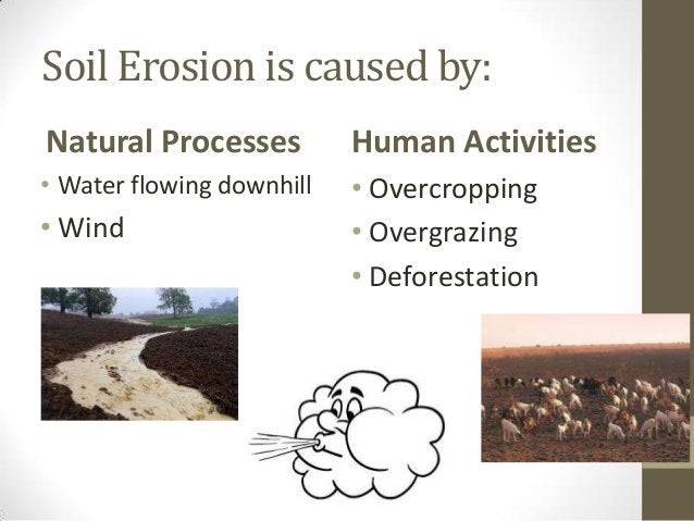 Soil Erosion is caused by: Natural Processes • Water flowing downhill • Wind Human Activities • Overcropping • Overgrazing...