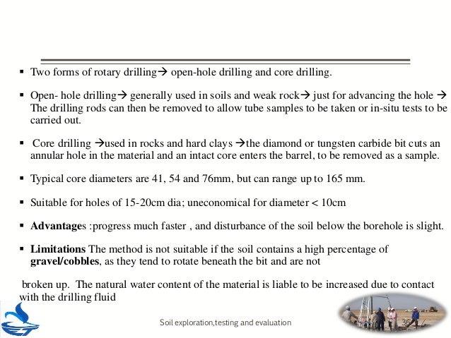 Soil exploration methods and soil investigation report