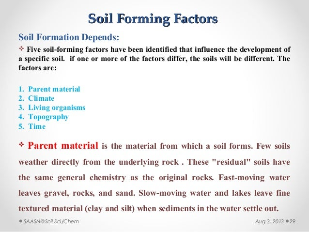 Soil formation lectue ers iii for Soil factors