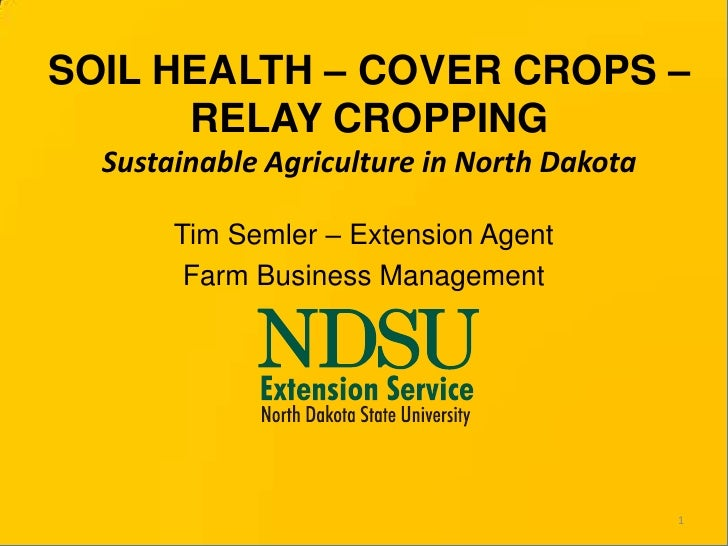 SOIL HEALTH – COVER CROPS – RELAY CROPPINGSustainable Agriculture in North Dakota<br />Tim Semler – Extension Agent<br />F...
