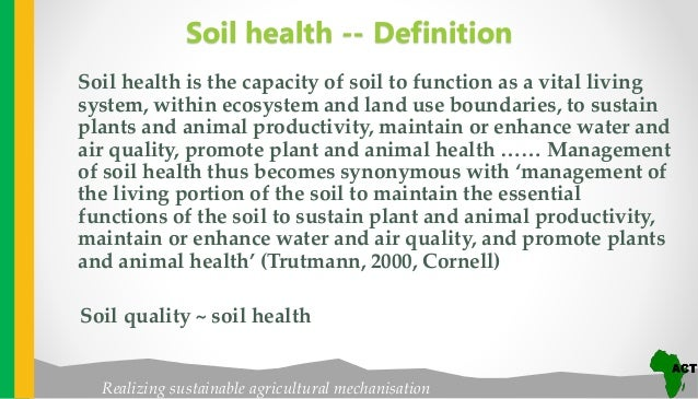 Soil health for soil and water management in conservation for Soil quality definition