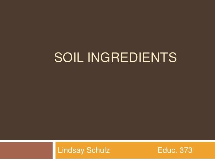 Soil ingredients<br />Lindsay Schulz                      Educ. 373<br />