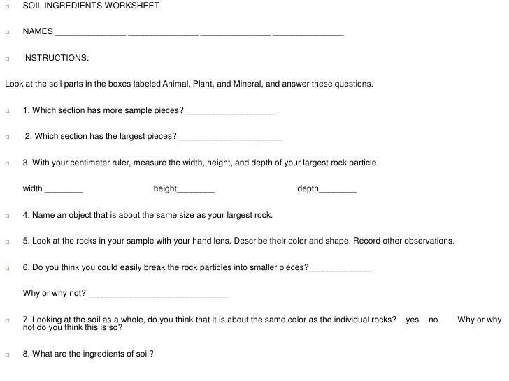Worksheets Soil Formation Worksheet soil ingredients worksheet