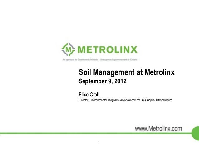 Soil Management at Metrolinx  September 9, 2012  Elise Croll  Director, Environmental Programs and Assessment, GO Capital ...