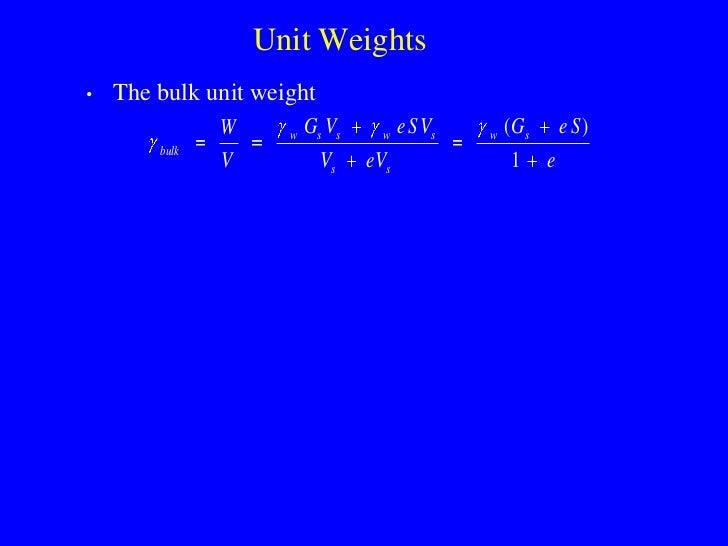 Unit Weights •   The bulk unit weight                W     w   Gs Vs     w   e S Vs   w   ( Gs       e S)         bulk    ...