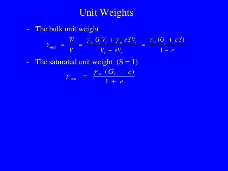 Unit Weights •   The bulk unit weight                W       w   Gs Vs       w   e S Vs   w   ( Gs       e S)         bulk...