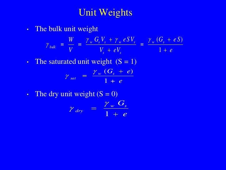 Unit Weights •   The bulk unit weight                W         w   Gs Vs          w   e S Vs   w   ( Gs       e S)        ...