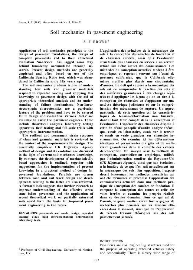 Brown, S. F. (1996). Geotechnique 46, No. 3, 383±426  Soil mechanics in pavement engineering S . F. B ROW N à L'applic...