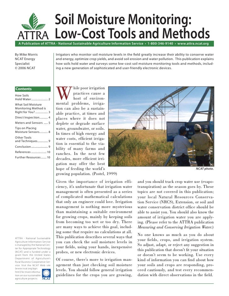 Soil Moisture Monitoring:  ATTRA                                 Low-Cost Tools and Methods   A Publication of ATTRA - Nat...