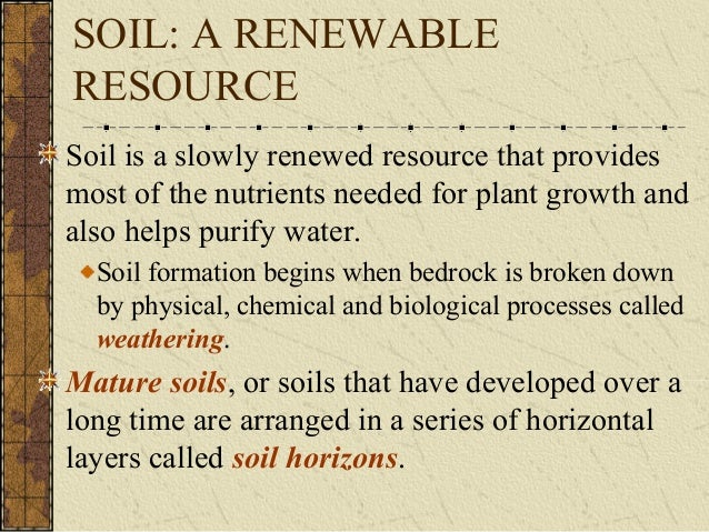 Soil notes for Soil resources definition