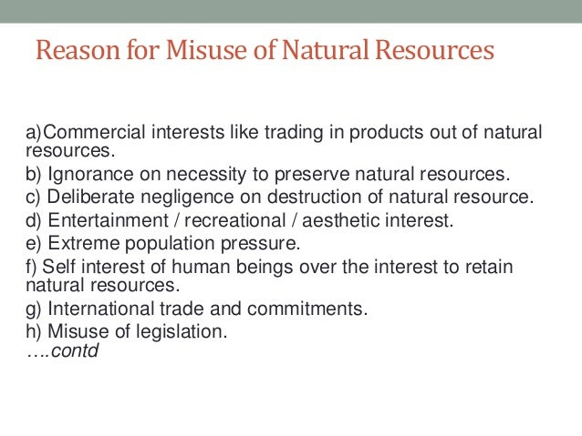 misuse of natural resources