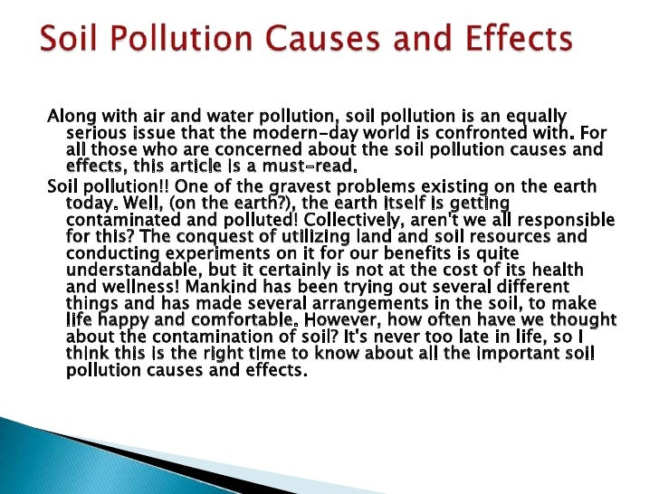 write an essay on soil pollution