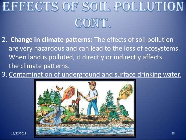 effects of land pollution There are many effects of the radioactive pollution which is broadly classified as short and long range the land and soil face many difficulties like.