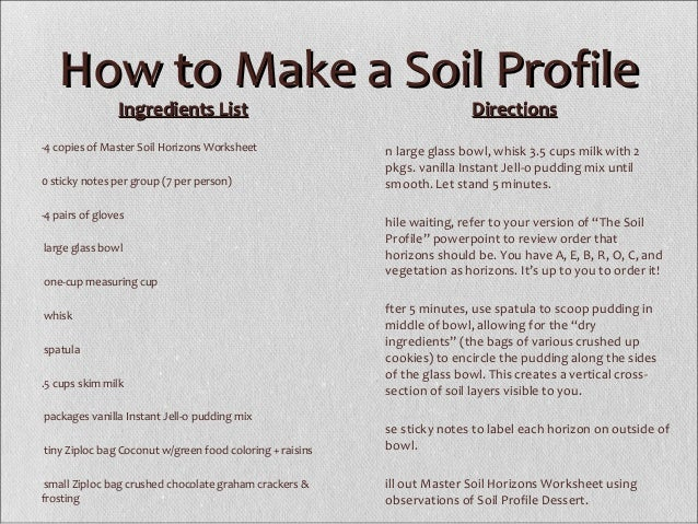 Soil profile – Soil Layers Worksheet