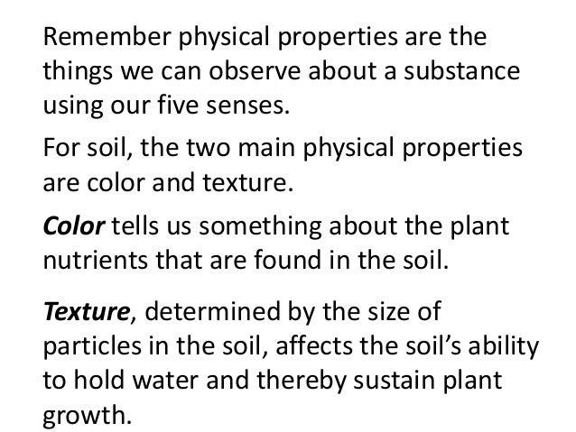 Soil properties gr 6 for Things found in soil