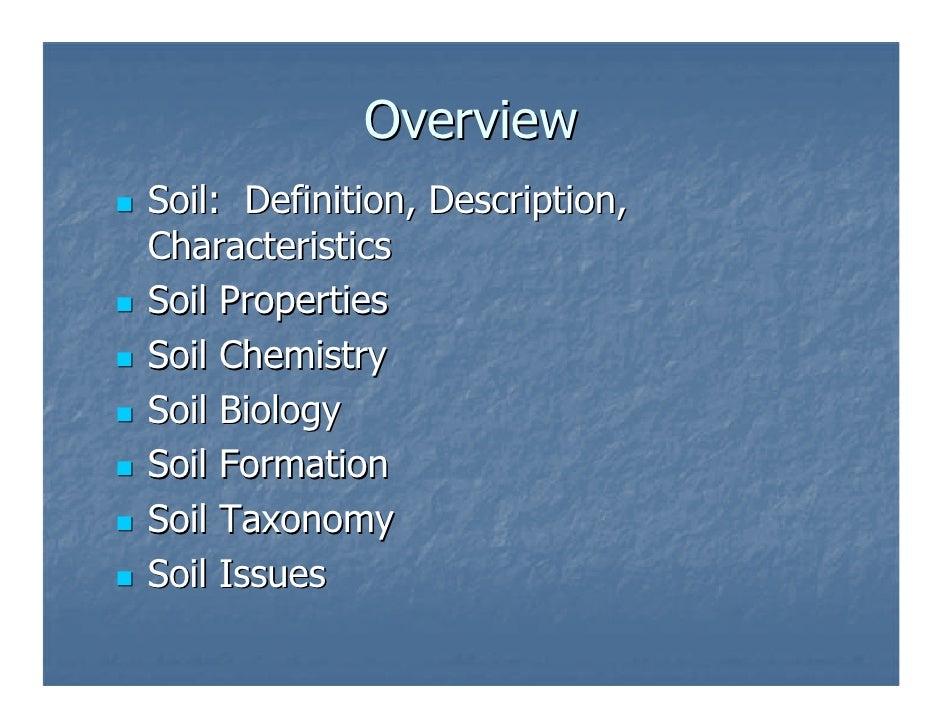Soils for Soil characteristics definition