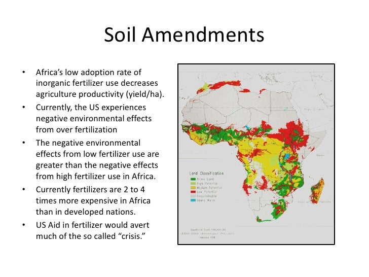 Soil Amendments<br />Africa's low adoption rate of inorganic fertilizer use decreases agriculture productivity (yield/ha)....